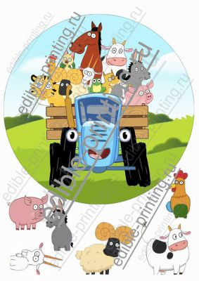 Купить сахарную картинку на торт синий трактор